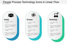 People Process Technology Icons In Linear Flow