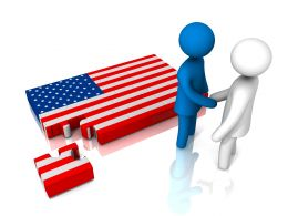 People Shaking Hands With Us Flag For Business Collaboration Stock Photo