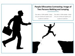 People Silhouettes Contrasting Image Of Two Persons Walking And Jumping