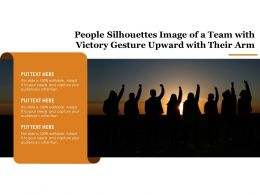 People Silhouettes Image Of A Team With Victory Gesture Upward With Their Arm