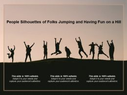 People Silhouettes Of Folks Jumping And Having Fun On A Hill