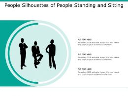 People Silhouettes Of People Standing And Sitting