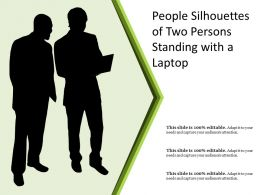 People Silhouettes Of Two Persons Standing With A Laptop