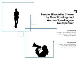 People Silhouettes Shown By Man Standing And Woman Speaking On Loudspeaker