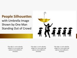 People Silhouettes With Umbrella Image Shown By One Man Standing Out Of Crowd