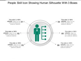 People Skill Icon Showing Human Silhouette With 3 Boxes