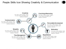 People Skills Icon Showing Creativity And Communication