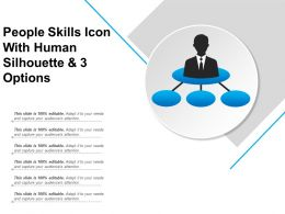People Skills Icon With Human Silhouette And 3 Options