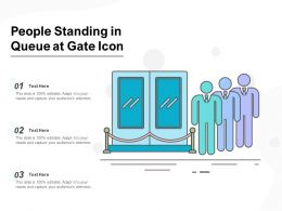 People Standing In Queue At Gate Icon