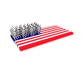 People Standing On Us Flag Stock Photo