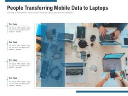 People Transferring Mobile Data To Laptops
