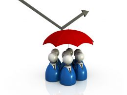 People Under The Umbrella And Arrow Showing Safety Stock Photo