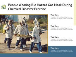 People Wearing Bio Hazard Gas Mask During Chemical Disaster Exercise