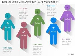 Peoples Icons With Apps For Team Management Flat Powerpoint Design