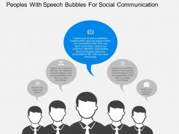 Peoples With Speech Bubbles For Social Communication Flat Powerpoint Design