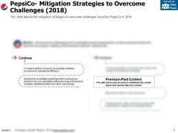 Pepsico Mitigation Strategies To Overcome Challenges 2018
