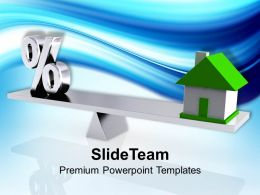 Percent Symbol And House On Seseesaw Powerpoint Templates PPT Themes And Graphics 0113