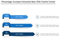 Percentage Increase Horizontal Bars With Colorful Center