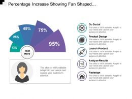 Percentage Increase Showing Fan Shaped Semi Circular Design