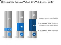 Percentage Increase Vertical Bars With Colorful Center
