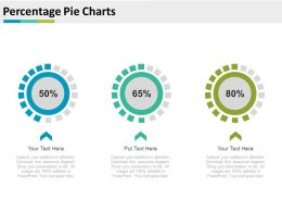 Percentage Pie Charts For Merger And Acquisitions Powerpoint Slides