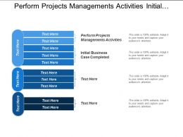Perform Projects Managements Activities Initial Business Case Completed