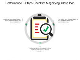 Performance 3 Steps Checklist Magnifying Glass Icon