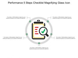 Performance 5 Steps Checklist Magnifying Glass Icon