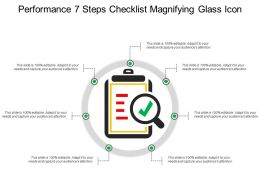 Performance 7 Steps Checklist Magnifying Glass Icon