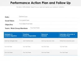 Performance Action Plan And Follow Up