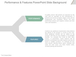 Performance And Features Powerpoint Slide Background