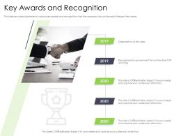 Performance And Key Awards And Recognition 2019 To 2020 Years Ppts Clipart