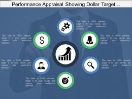 Performance Appraisal Showing Dollar Target And Magnifying Glass