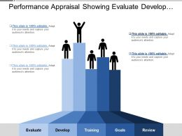 Performance Appraisal Showing Evaluate Develop Training And Goals