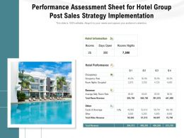Performance Assessment Sheet For Hotel Group Post Sales Strategy Implementation