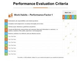 Performance Evaluation Criteria Ppt Infographic Template Graphics Tutorials