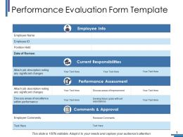 Performance Evaluation Form Template Ppt Portfolio Deck