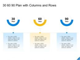 Performance Evaluation Parameters Project 30 60 90 Plan With Columns And Rows Ppt Powerpoint Files