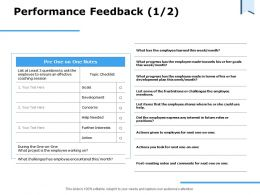 Performance Feedback Employee Working Ppt Powerpoint Presentation File Examples