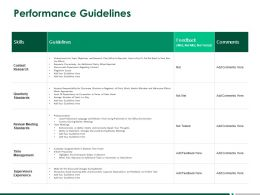 Performance Guidelines Quarterly Standards Ppt Powerpoint Presentation Visual Aids Files
