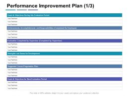 Performance Improvement Plan Objectives Ppt Powerpoint Presentation Infographic