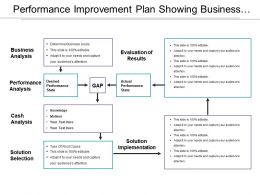 Performance Improvement Plan Showing Business Analysis And Solution Selection