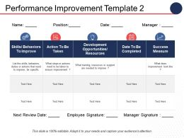 Performance Improvement Ppt Infographic Template Background Images