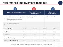 Performance Improvement Ppt Infographics Infographic Template