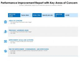 Performance Improvement Report With Key Areas Of Concern
