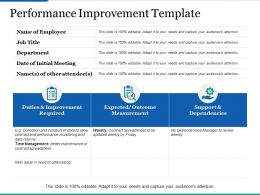 Performance Improvement Template Ppt Infographics Objects