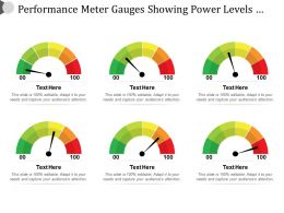 Performance Meter Gauges Showing Power Levels From Low High