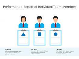 Performance Report Of Individual Team Members