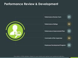 Performance Review And Development Ppt Powerpoint Presentation Inspiration Deck