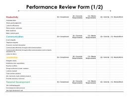 Performance Review Form 1 2 Ppt Powerpoint Presentation Show Infographic Template